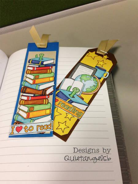 Bookworm Bookmarks by quietangelsb